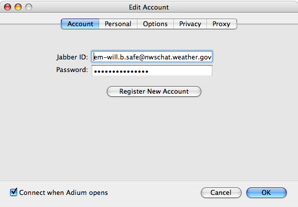 Image depicting the addition of a NWSChat account in Adium